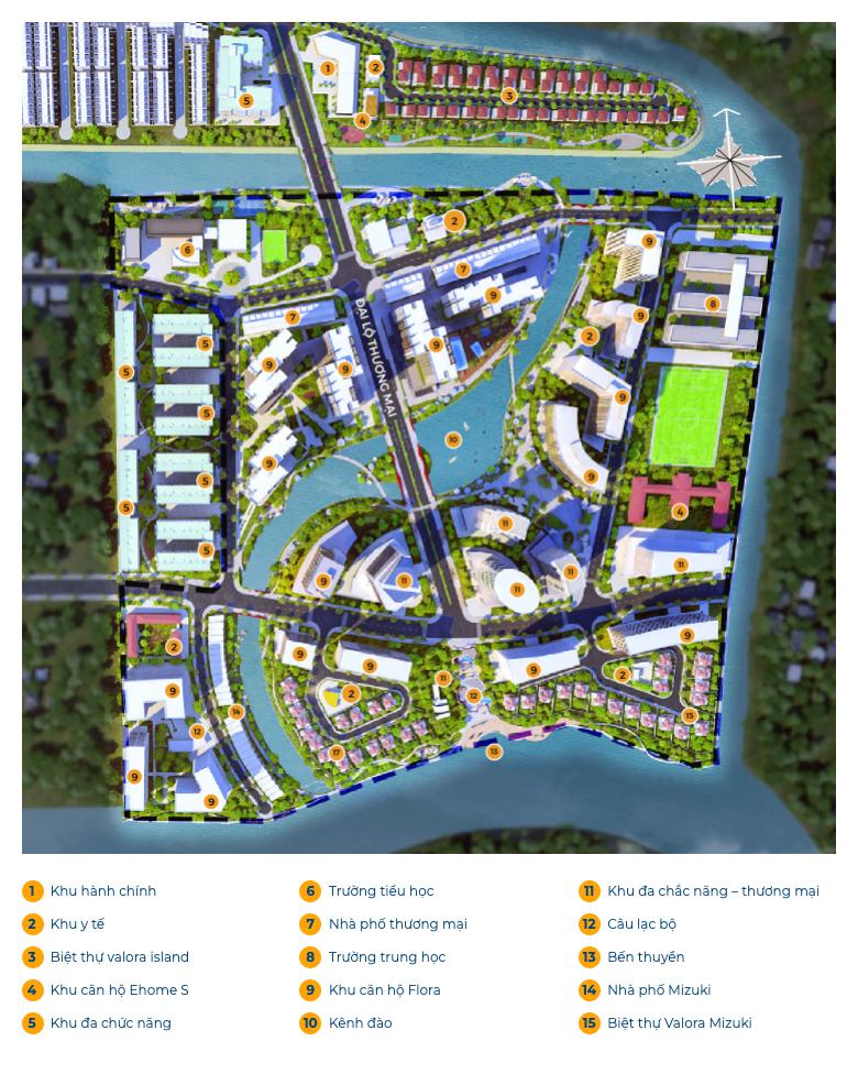 Sơ đồ tiện ích dự án Mizuki Park